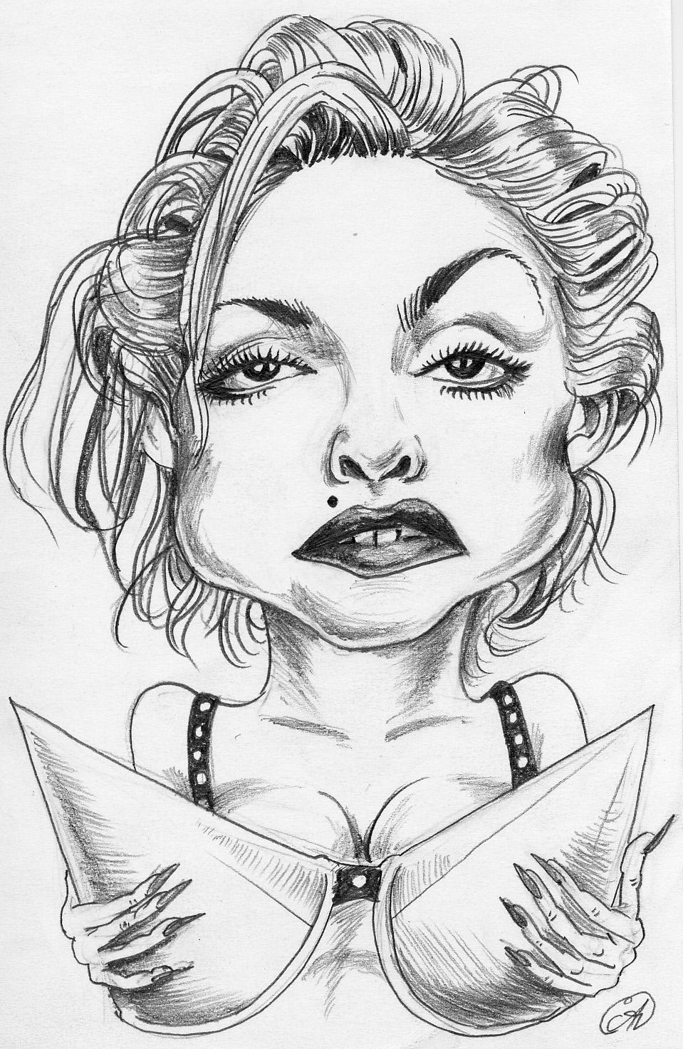 Рисунки карандашом прикольные женщины, анимацией темная